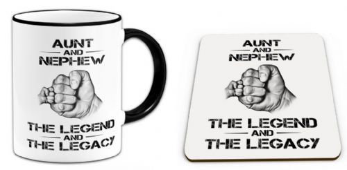 The Legend And The Legacy Novelty Gift Mug with Coaster - Black Handle / Rim